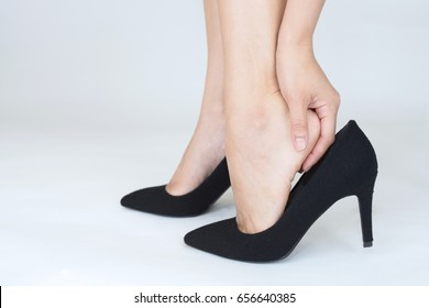 Woman feet pain wear high heel shoes
