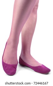 Woman feet with pink shoes