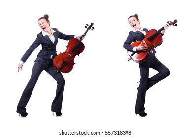 Woman fiddler isolated on white background