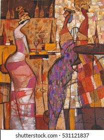 """woman figure abstract. looking for partnerships with artdillers oil painting, author of Roman Nogin. series """"Women's talk."""""""