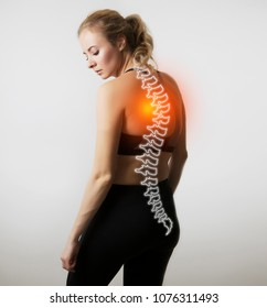 woman figure photo with illustration of spine