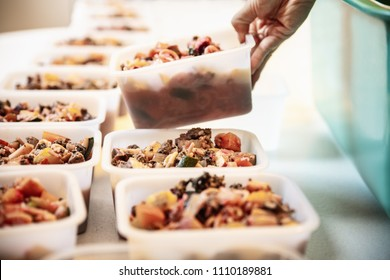 Woman is filling bowls with homemade dog food, ready to freezing the dog treat portions, diy recipe