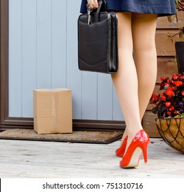 Woman finds parcel delivery at front door