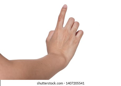 Woman Finger Hand Click, Point, Press or Touch to Something isolated on White Background