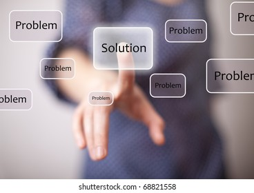 woman finger on solution button