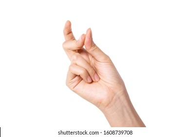Woman finger snapping isolated on white.