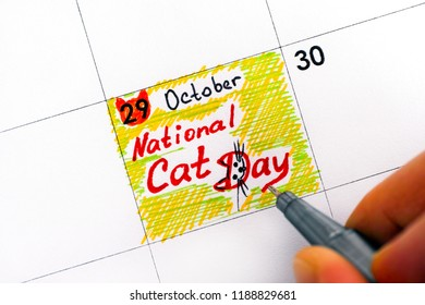 Woman fingers with pen writing reminder National Cat Day in calendar. Close-up.