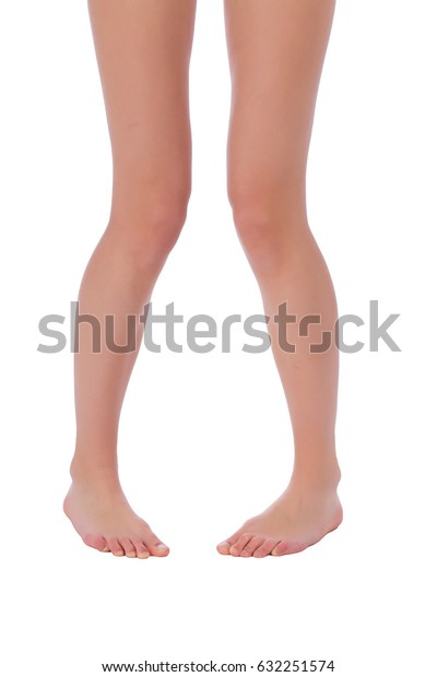 Woman fit beautiful legs on white background