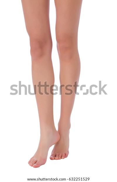 Woman fit beautiful legs steping on white background