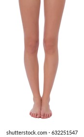 Woman fit legs together on white background