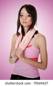 Woman of fitness, closeup portrait of Asian beauty.