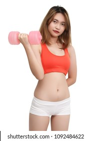 woman in fitness clothes workout with dumbbell