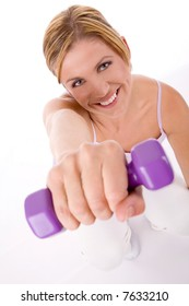 woman at fitness training with weights