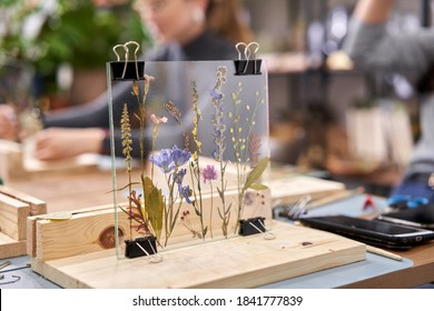 A woman fixes glass plates.. Master class on creating frame with Herbarium in tiffany technique in stained glass. Herbarium of dried different plants and flowers placed under a glass