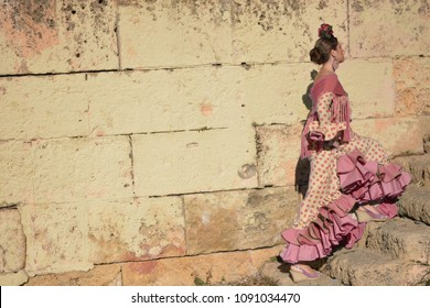 The woman in the flamenco dress climbing the stairs