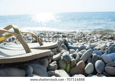 d0f32e9209fcf Woman Flip Flops Sandals On Pebble Stock Photo (Edit Now) 707116888 ...