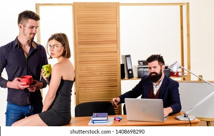 Woman flirting with coworker. Woman attractive working man colleague. Office romance concept. Sexual attraction among certain coworkers. Flirting and seduction. Flirting with coworker coffee break.