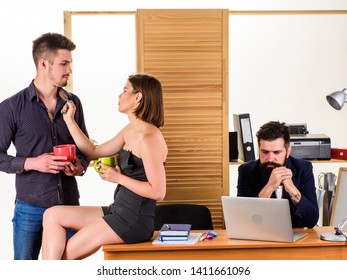Woman flirting with coworker. Woman attractive working man colleague. Office collective concept. More than just friends. Sexual desire. Flirting and seduction. Flirting with coworker coffee break.