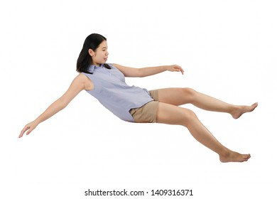 Woman Float Character on isolated White background.