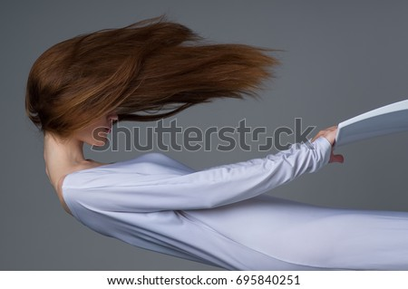 Woman floating in the