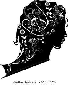 Woman with flowers  in hair, illustration