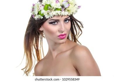 A woman with flowers on a white background