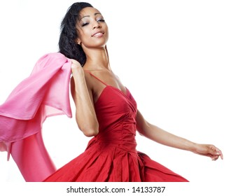woman with fly-away cloth