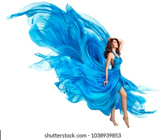 Woman Flying Blue Dress, Elegant Fashion Model in Fluttering Gown on White, Art Fabric Fly and Flutter on Wind