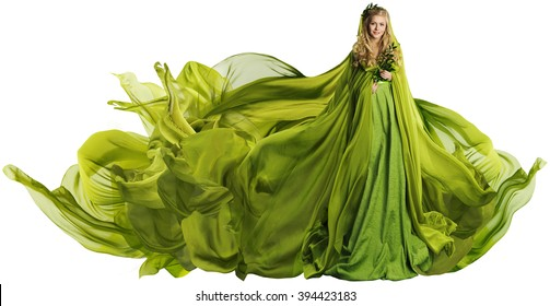 Woman in Flying Dress Fabric, Fashion Model in Green Clothes over White background