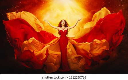 Woman in Flying Dress Raised Arms to Mystery Light, Fantasy Goddess in Red Fluttering Gown