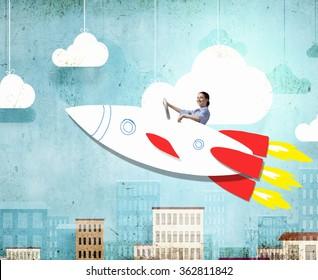 Woman flying rocket