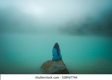woman in the fog