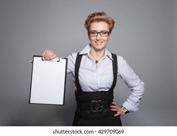 Woman with a folder