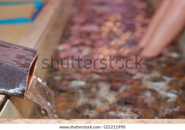 Woman foot soak Onsen,Foot bath at a Japanese hot spring (onsen)