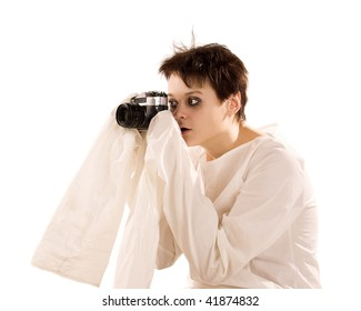 Woman with fotocamera on white isolated
