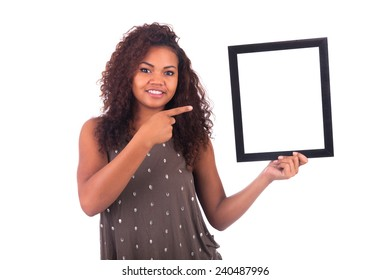Woman with a frame around her face isolated over a white background