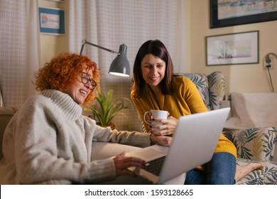 woman friends enjoyed company, using laptop computer