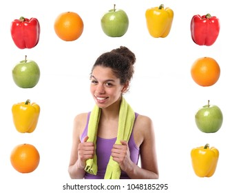 Woman with fruit and vegetables