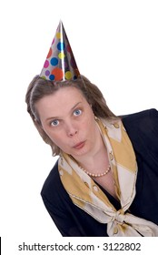 Woman with Funny expression wearing a party hat isolated over white