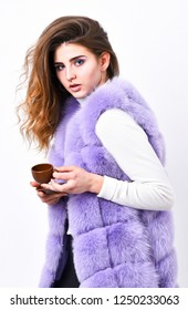 Woman fur coat drink coffee. Elite coffee concept. Elite coffee variety concept. Lady drink espresso little ceramic cup white background. Elite drink with caffeine. Enjoy aroma and taste hot coffee.