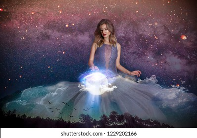 woman and galaxy