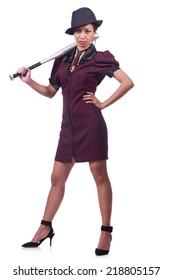 Woman gangster with baseball bat