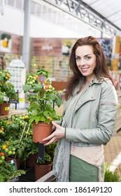 Woman in gardening center shopping for plants for vegetable garden