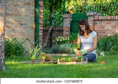 woman gardening flowers n her backyard
