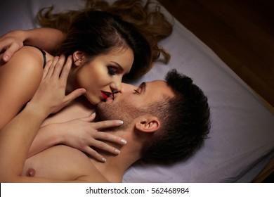 Woman gently kissing soft lips her boyfriend