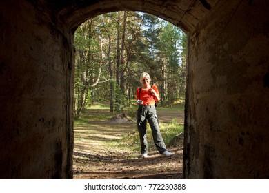 A woman geocaching