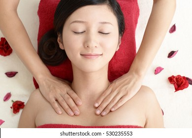 Woman getting a body massage