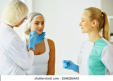 woman getting injection. beauty injections and cosmetology