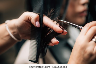 Woman getting a new haircut. Female hairstylist cutting her long black hair with scissors in hair salon