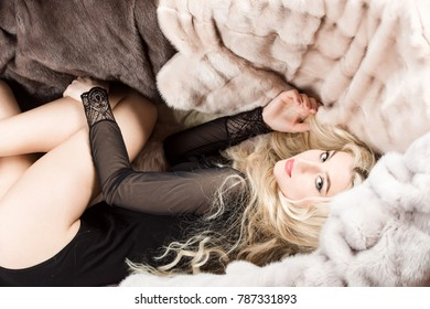 Woman or girl with blond long hair in sexy bodysuit lie on natural fur coats. Winter fashion, beauty, look, hairstyle. Luxury, wealth, lifestyle concept